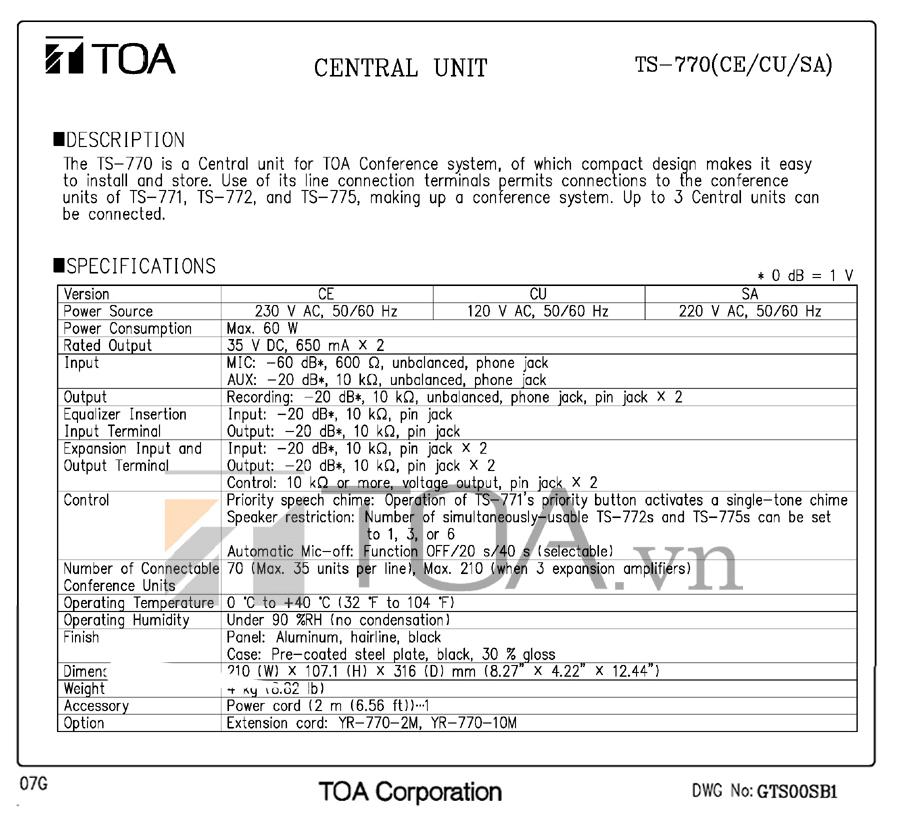 Thiết bị trung tâm TOA TS-770