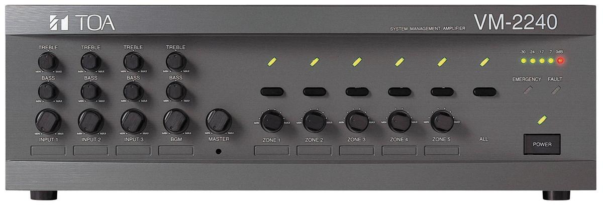 Mixer Amplifier 240W kèm bộ chọn 5 vùng loa TOA VM-2240
