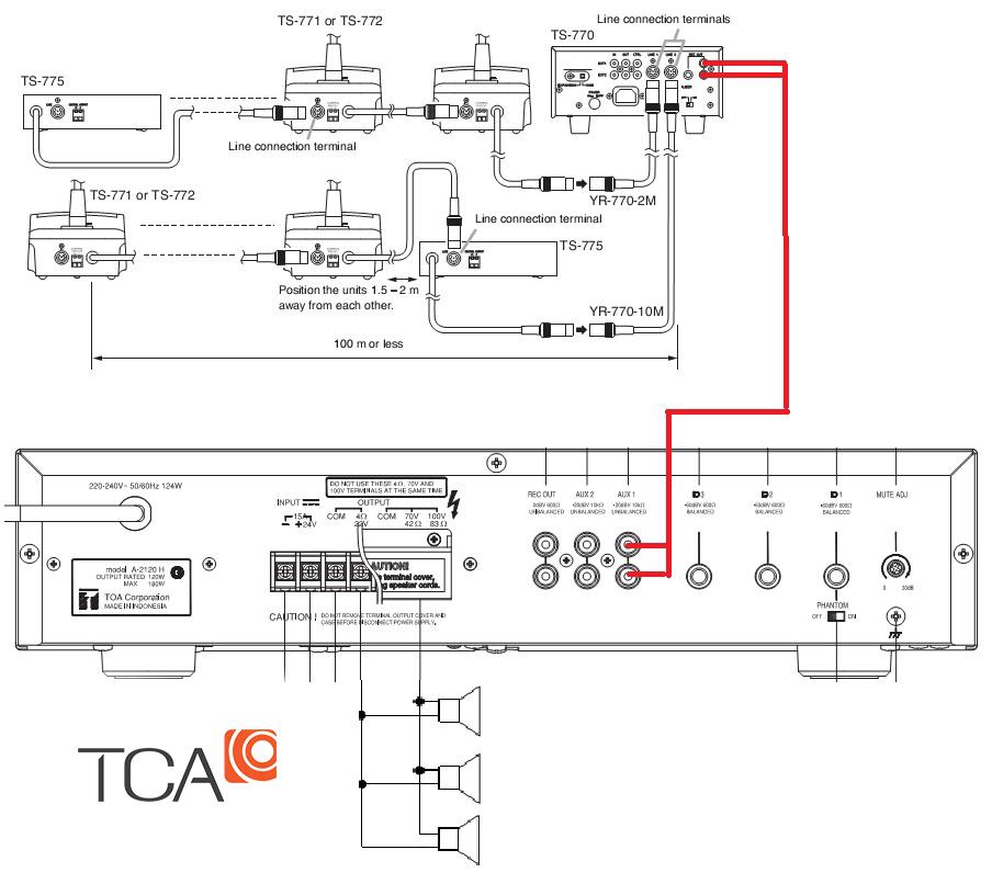 Sơ đồ hệ thống âm thanh hội thảo Toa TS - 700
