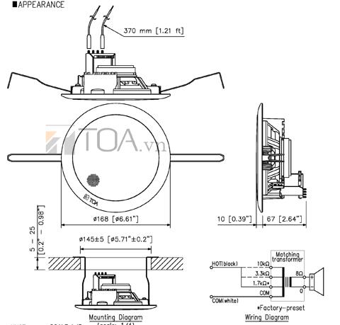 Loa gắn trần TOA PC-648R